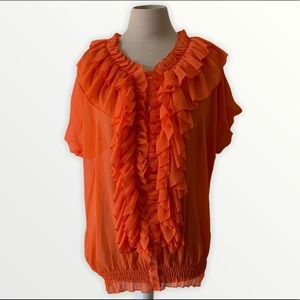 Ashley Stewart orange ruffle button up top